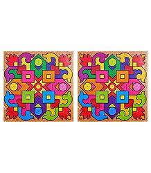 Pair of Square Rangoli Stickers