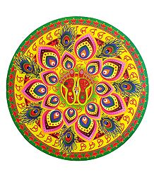 Multicolor Round Paper Sticker Rangoli