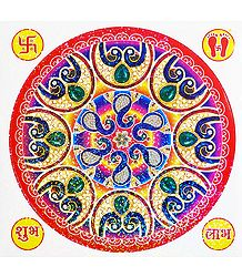 Multicolor Square Paper Sticker Rangoli