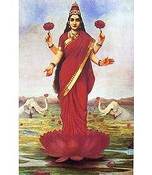 Goddess Lakshmi - Ravi Varma Reprint