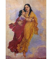 Maneka Takes Shakuntala to Heaven - Ravi Varma Reprint