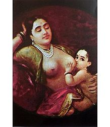 The Suckling Child - Ravi Varma Reprint