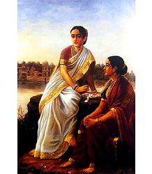 Radha and Her Sakhi Waiting for Krishna