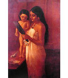Looking Into Mirror - Raja Ravi Varma Painting Reprint