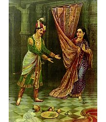 Keechaka and Sairandhri - Raja Ravi Varma Reprint