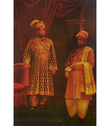King and Dewan - Raja Ravi Varma Reprint