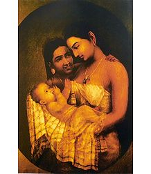 Mother and Child - Ravi Varma Reprint