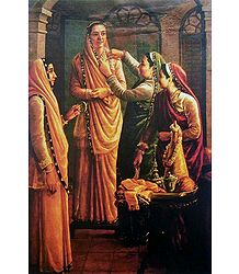 Decking the Bride - Ravi Varma Reprint