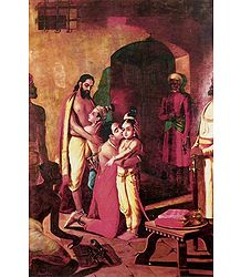 Sri Krishna Liberating His Parents - Ravi Varma Reprint