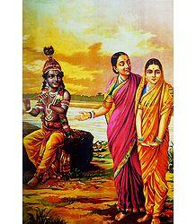 Radha Being Introduced to Krishna - Ravi Varma Reprint