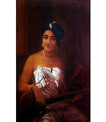 Lady Playing Veena - Raja Ravi Varma Reprint on Paper