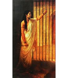 Imprisoned Lady Holding a Dagger
