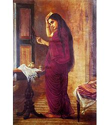 Lady with Mirror - Ravi Varma Reprint