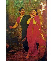 Draupadi and Simhika - Ravi Varma Reprint