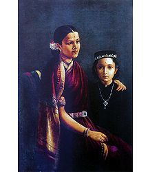 Mrs. Ramanadha Rao and Son - Ravi Varma Reprint