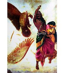 Jatayu Vadham - Sita Horrified Seeing Ravana Cutting Jatayu's Wing - Poster