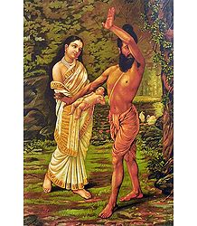 Birth of Shakunthala - Raja Ravi Varma Reprint