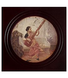 Lady Playing Sitar - Framed Picture
