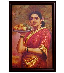 Lady with Fruits  - Framed Picture