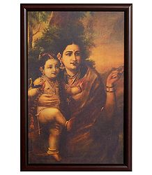 Krishna in the Lap of Mother Yashoda  - Framed Picture