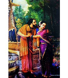 Arjuna and Subhadra - Raja Ravi Varma Painting Reprint