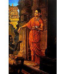 Lady Giving Alms - Unframed Ravi Varma Reprint