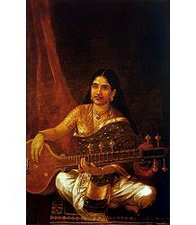 Malayali Lady Playing Veena - Ravi Varma Reprint Poster