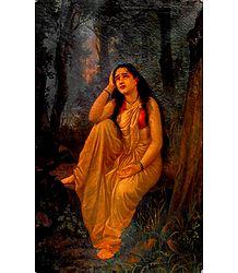 Damayanti - Raja Ravi Varma Painting Reprint