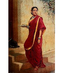 Lady Going for Puja - Poster