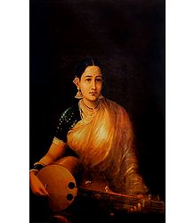 Lady with Sarod - Raja Ravi Varma Reprint on Paper