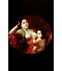 Mother and Child - Raja Ravi Varma Reprint - Unframed