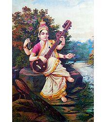 Saraswati - Ravi Varma Reprint