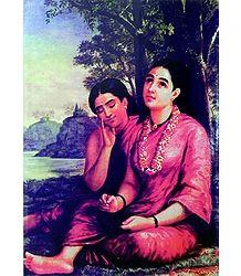 Shakuntala Writing Letter to King Dushyanta
