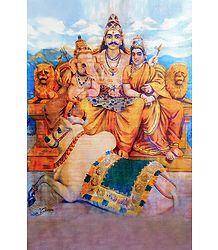 Shiva Family - Ravi Varma Reprint