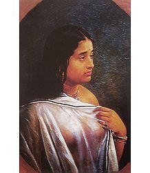 Malayalee Lady - Ravi Varma Reprint
