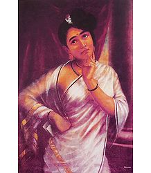 Portrait of Keralite Lady - Ravi Varma Reprint