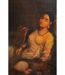 Lady Resting on the Pillow - Ravi Varma Reprint