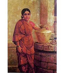 A Maharashtrian Lady Near the Well - Ravi Varma Reprint