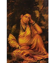 Woman in Grief - Ravi Varma Reprint