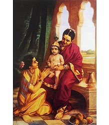 Yashoda with Krishna - Ravi Varma Reprint