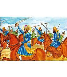 Guru Gobind Singh in a Battle - From the book 'Sikh Gurus'