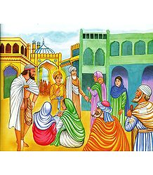 Guru Har Krishan Visits Small Pox Patients - From the book 'Sikh Gurus'