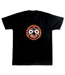 Embroidered Jagannathdev Face on Black T-Shirt