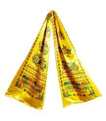 8 Buddhist Symbol Print on Yellow Satin Khada