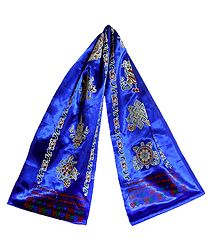 8 Buddhist Symbol Print on Blue Satin Khada