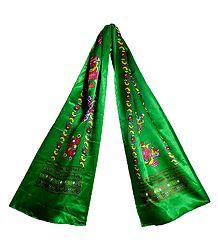 8 Buddhist Symbol Print on Green Satin Khada - Buddhist Angavastram