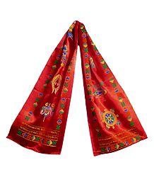 8 Buddhist Symbol Print on Red Satin Khada - Buddhist Angavastram