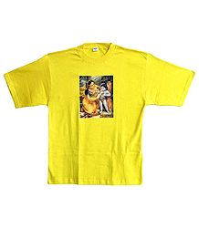 Printed krishna with Yashoda on Mens Yellow T-Shirt