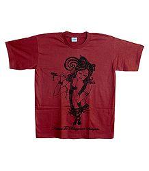 Buy Krishna Print on Red Cotton T-Shirt