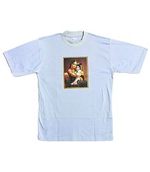 Printed Yashoda Krishna on Mens Light Mauve T-Shirt
